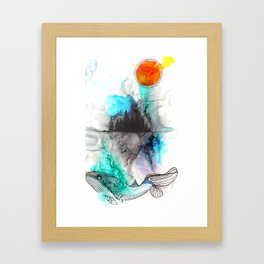 la baleine et la lune Framed Art Print
