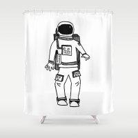 astronaut Shower Curtains featuring Astronaut by Indigo K