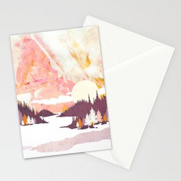 Winter Abstract Stationery Cards