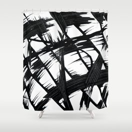 Whipped Into Motion Black On White Shower Curtain