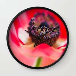 Red Anemone Wall Clock