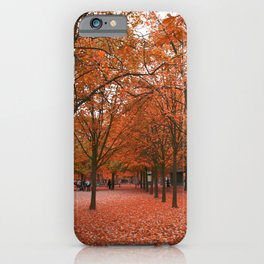 Red Trees During an Autumn Walk in the Jardin du Luxembourg in Paris iPhone Case