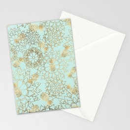Modern teal faux gold pineapple floral illustration Stationery Cards