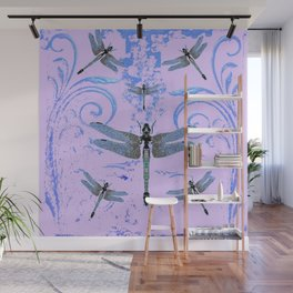 DELICATE BLUE & LILAC DRAGONFLIES ABSTRACT ART Wall Mural