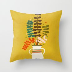 Potted Leaves Throw Pillow