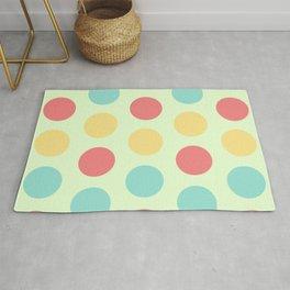 57 Colorful circles - pastel green, coral, blue, yellow Rug