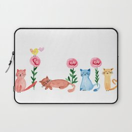Watercolor - spring and summer in garden with cats Laptop Sleeve
