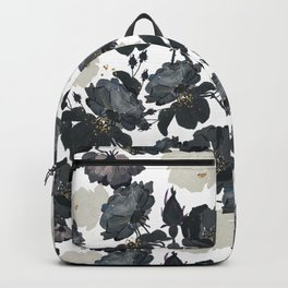 Hand drawn bohemian black and white roses glitter pattern Backpack