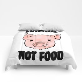 Cute Pig Vegan Friends Not Food Illustration Comforters