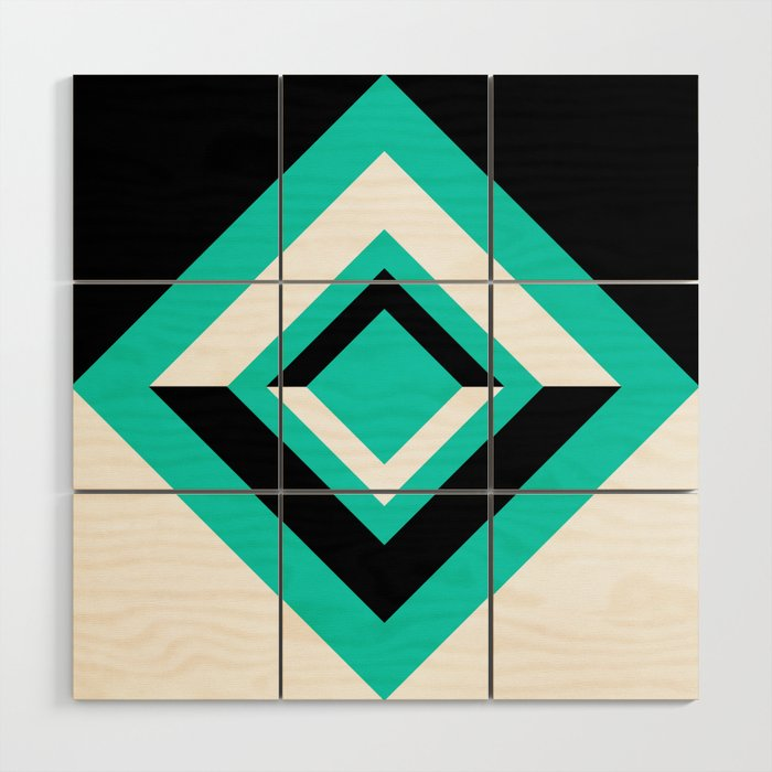 Teal Black and White Diamond Shapes Digital Illustration - Artwork Wood Wall Art