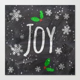 Holidays Joy typography snow black chalkboard Canvas Print