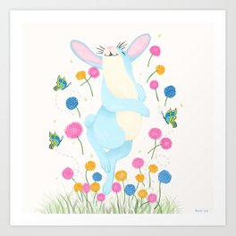 Bouncing Baby Blue Bunny Art Print