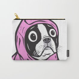 Pink Hoodie Boston Terrier Carry-All Pouch