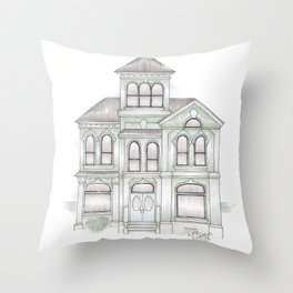 Green Italianate Victorian Throw Pillow
