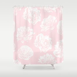 Pink Roses in Flamingo Pink Shower Curtain