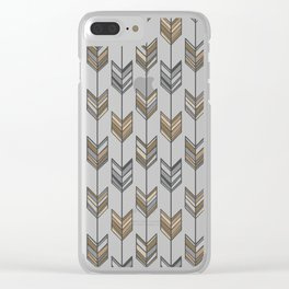 Boho Arrow Fletching Pattern - Neutral Brown and Grey Clear iPhone Case