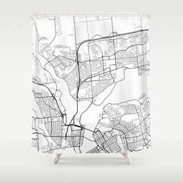 Gatineau Map, Canada - Black and White Shower Curtain