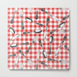 Utensils on Red Picnic Blanket Metal Print