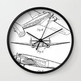 Lockheed Airplane Patent - Electra Aeroplane Art - Black And White Wall Clock