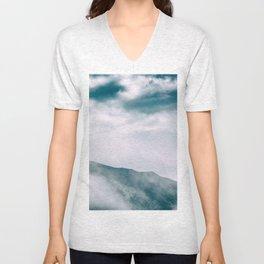 Misty mountain in Hong Kong Unisex V-Neck