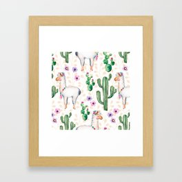 Colorful pattern cactus and lamas pattern Framed Art Print