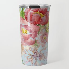 Bouquet of Watercolor on Blue Background Travel Mug
