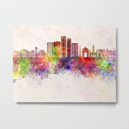 Caracas V2 skyline in watercolor background Metal Print