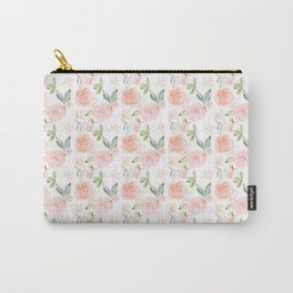 Blush pink orange watercolor hand painted roses floral Carry-All Pouch