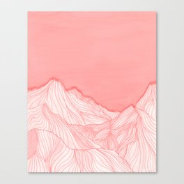 Lines in the mountains - pink Canvas Print