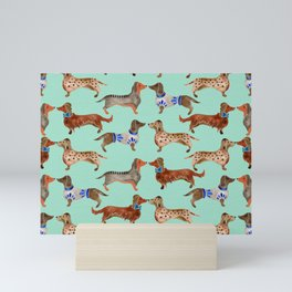 Dachshunds on Blue Mini Art Print