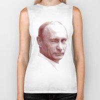 putin Biker Tanks featuring Putin by MartiniWithATwist