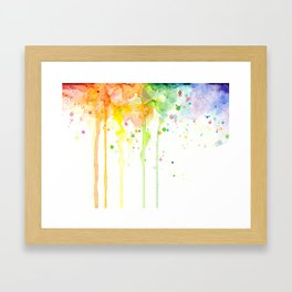 Watercolor Rainbow Splatters Abstract Texture Framed Art Print