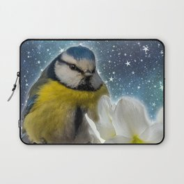 Baby Bird with White Flower Laptop Sleeve