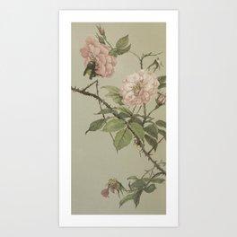 Vintage Flower and Bee Art Print