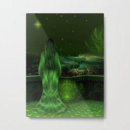 Wishing upon a star in a green night   Metal Print