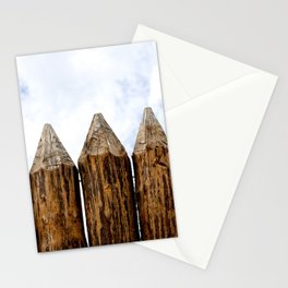 My House Is My Castle. Palisade Fence, Huge Wooden Logs, Cloudy Sky Stationery Cards
