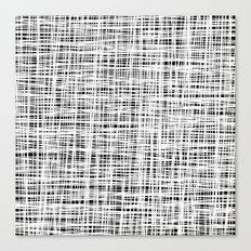 Hand drawn Lines Pattern-White on Black - Mix & Match with Simplicity of life Canvas Print