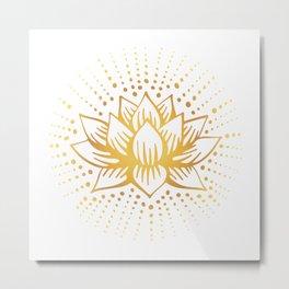 Golden Lotus Mandala Light Metal Print