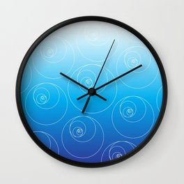 Blue Fibonacci Circles Wall Clock