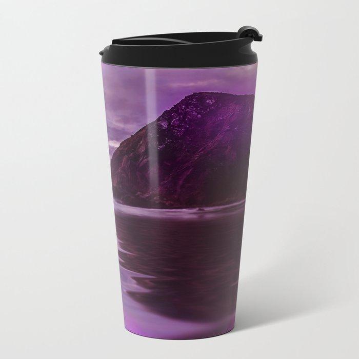 Full Moon over Calm Waters in purple Light Metal Travel Mug