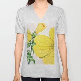 Yellow Flowers in watercolor Unisex V-Neck