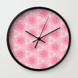Pink and White Pattern Wall Clock
