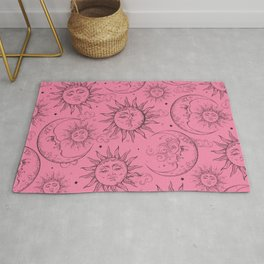 Pink Magic Celestial Sun Moon Stars Rug