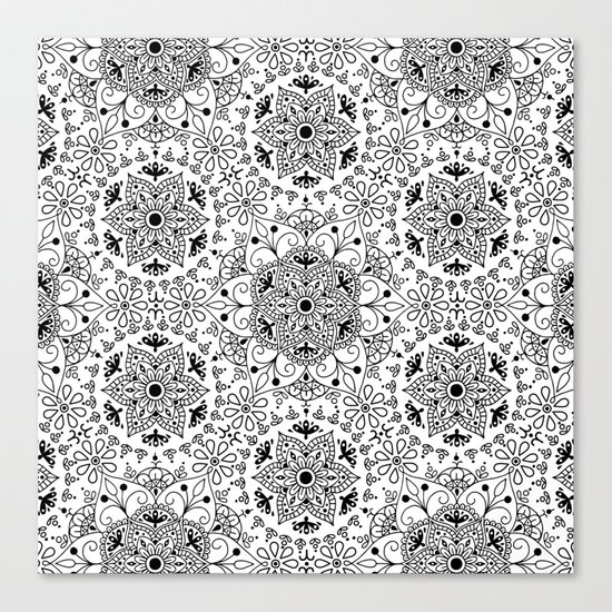 Mandala_White and Black Canvas Print
