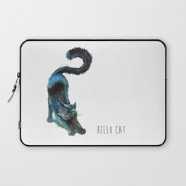 Black Blue Cat Stretching Drawing  Laptop Sleeve