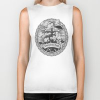 lotr Biker Tanks featuring Lord of the Rings Mordor Tower Vintage Geek Art by Barrett Biggers