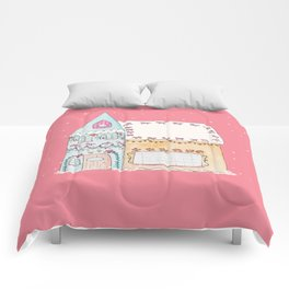 Gingerbread House Blue Comforters