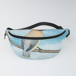 cedar waxwing and blue sky Fanny Pack