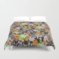 vintage floral Duvet Covers featuring Vintage Floral by Lydia Meiying