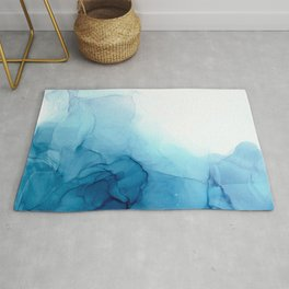 Cool Blue Ocean Tides Abstract Painting Rug